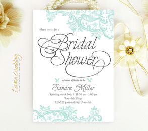 Elegant Bridal Shower Invitations with green lace