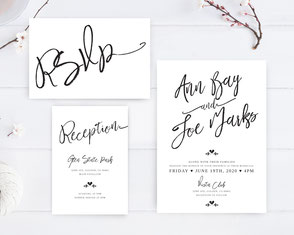 Simple wedding invitations with calligraphy rext