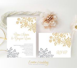 Elegant wedding invitation sets | Gold and silver wedding