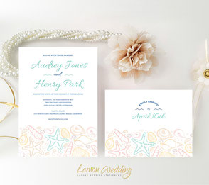 Beach wedding invitations with RSVP postcard