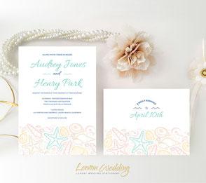 Beach wedding invitations with RSVP postcard