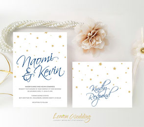 Gold and vavy wedding invitations