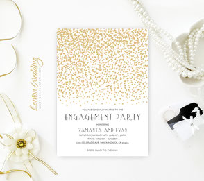 Gold Stars Engagement Party Invitations