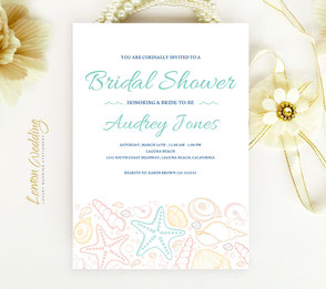 Beach themed bridal shower invitations