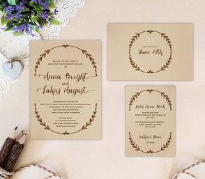 Country wedding invitations + RSVP + Details cards