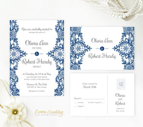 Navy blue and silver wedding invitations with RSVP