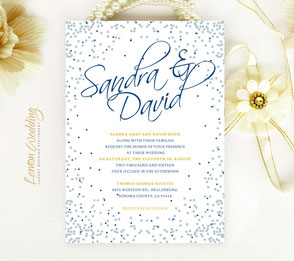 Navy blue and silver wedding invitation