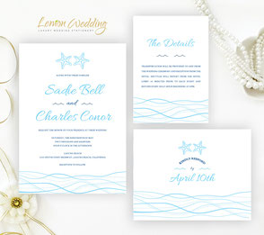 Beach wedding invitation packages