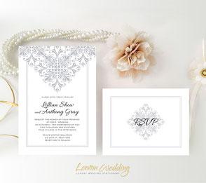 gray lace wedding invitations