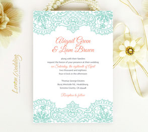 Mint green lace invitations