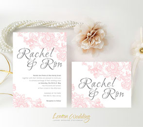 pink and dray lace wedding invitations