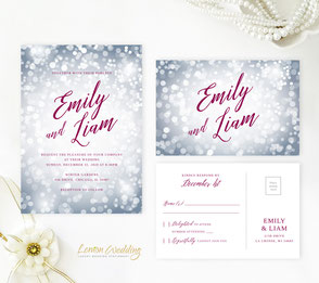 silver and burgundy wedding invitations
