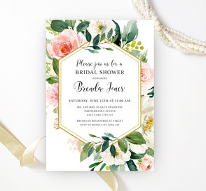 Elegant Bridal Shower Invitations floral