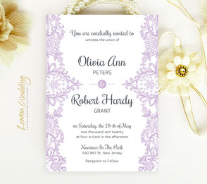 Purple wedding invitations with lace