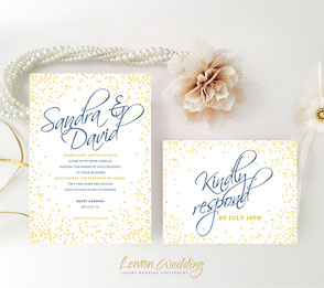 Gold and royal blue wedding invitations