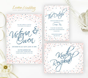 Pink and navy blue wedding invitation packages