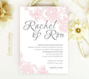 Pink lace wedding invitations