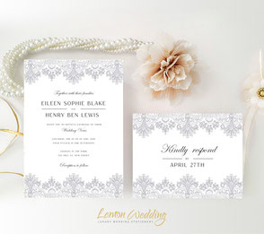 White and silver wedding invitations | Lace invites