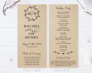 Brown Wedding Ceremony Programs