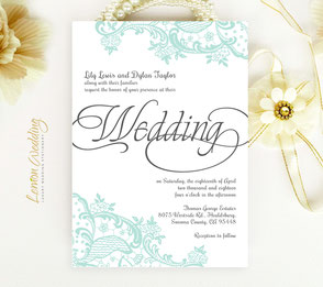 party invitations | mint green lace