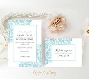 Aqua wedding invitations