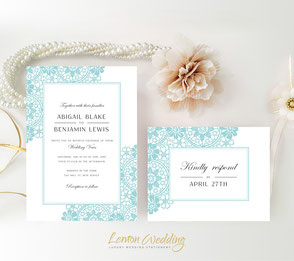 Aqua lace wedding invitations