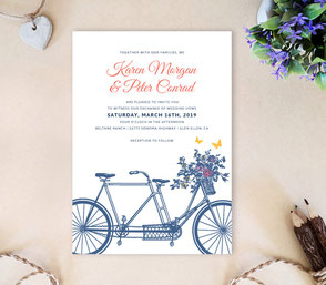 Bicycle wedding invitations | rustic temed