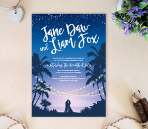 Night beach wedding invitations