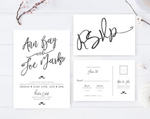 Calligraphy simple wedding invitations