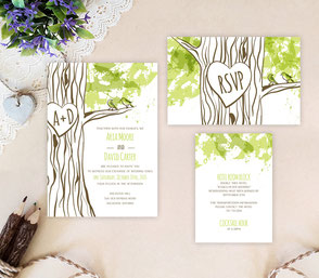 rustic tree wedding invites