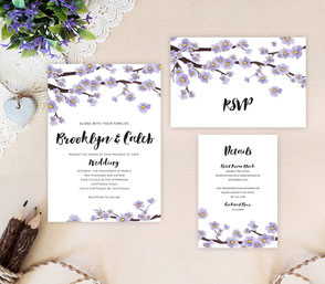 Sakura purple wedding invitation kits