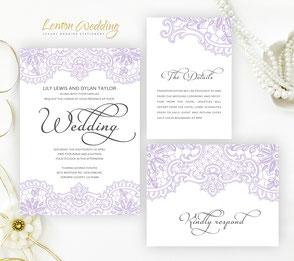 Elegant wedding invitation kits | purple and silver wedding