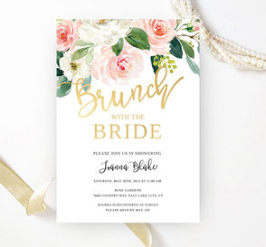 Elegant floral bridal shower invitations