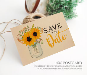 Sunflower wedding save the date postcards