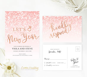 Pink New Year's Eve wedding Invitation