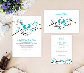 Love birds wedding invitations packs