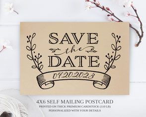 Simple rustic save the date postcards