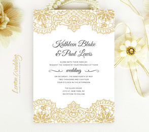 Gold Wedding Invitations Lemonwedding