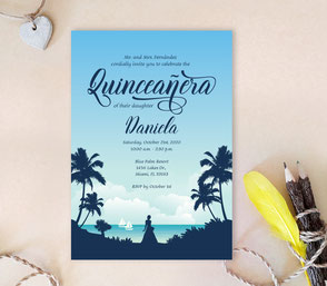 Beach Quinceanera Invitations