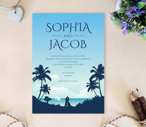 Romantic nautical wedding invitations