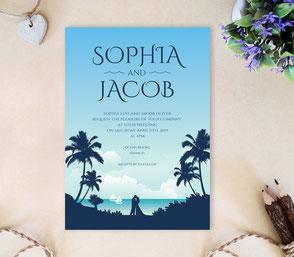 Romantic nautical wedding invitations