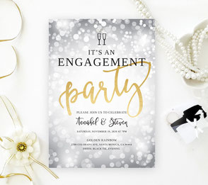 Silver Engagement Party Invitations