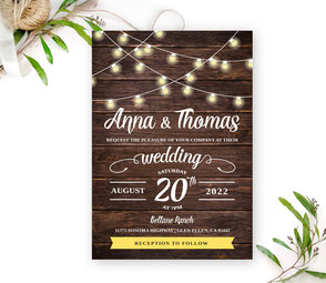 Simple rustic wedding invite