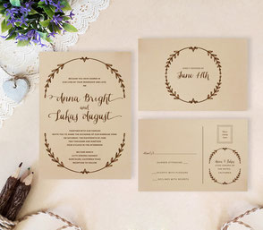 Rustic wreath wedding invitations