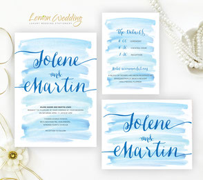 Watercolor wedding Invitations Kit