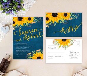 Blue and yellow wedding invitations | rustic wedding