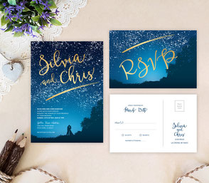 Starry night wedding cards