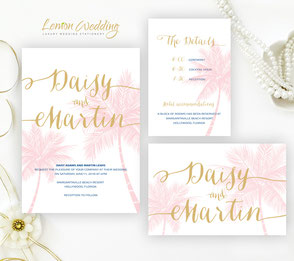 Palm tree wedding invitation sets