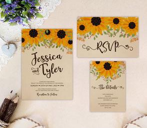 Sunflower wedding invitations printed on kraft cardstock