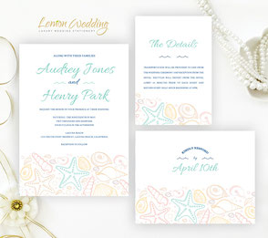 Beach wedding invitations + RSVP postcards + Info cards